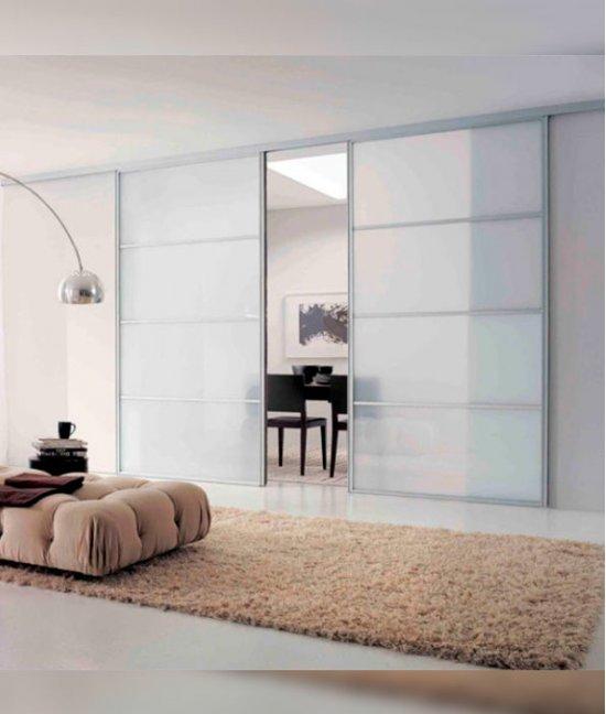 Межкомнатные раздвижные стеклянные двери с матовым стеклом