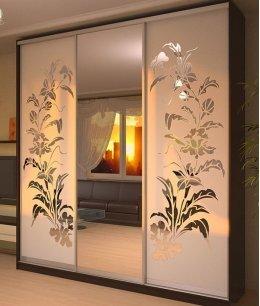 Двери для шкафа-купе с пескоструйным рисунком