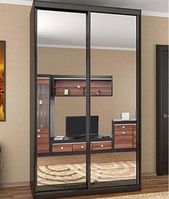 Встроенный шкаф купе двухстворчатый с зеркалом