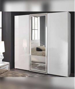 Шкаф купе белое стекло и зеркало