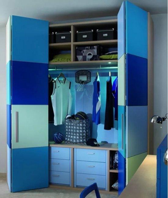 Шкаф голубой детский