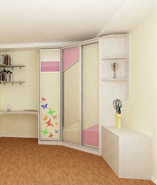Угловой шкаф в детскую комнату для двоих