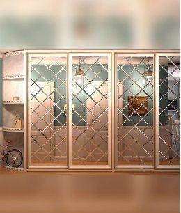 Зеркальный шкаф купе с фацетом ромбами