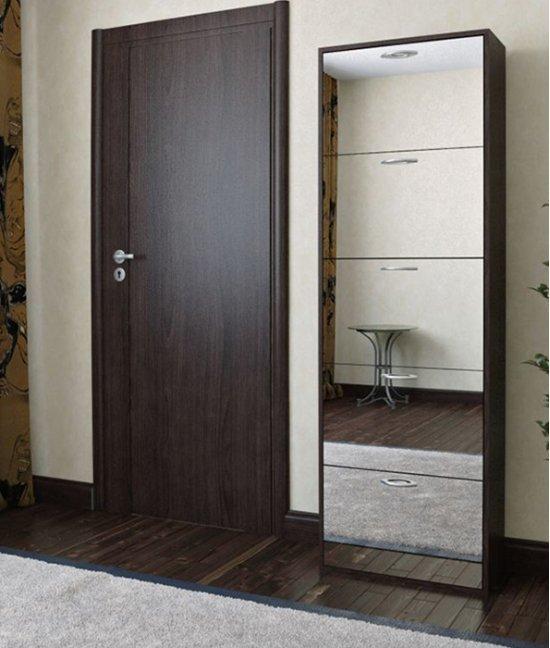 Шкаф для обуви с зеркалом в прихожую