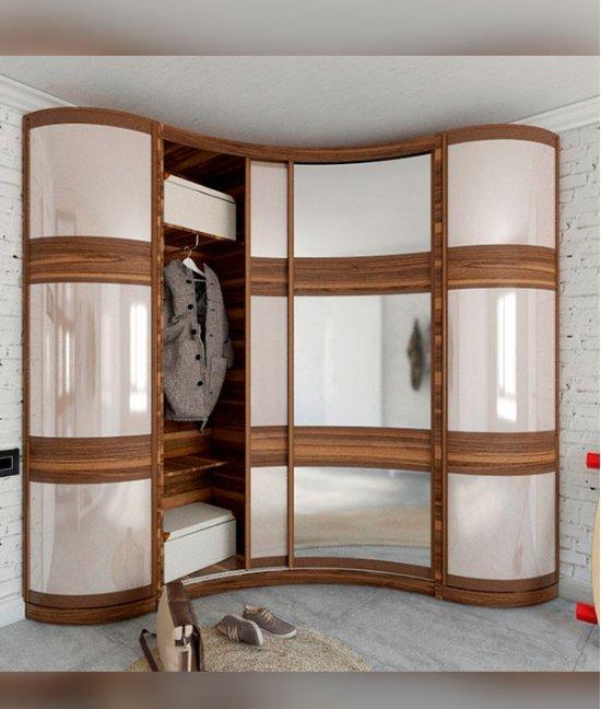 Радиусный угловой шкаф волной