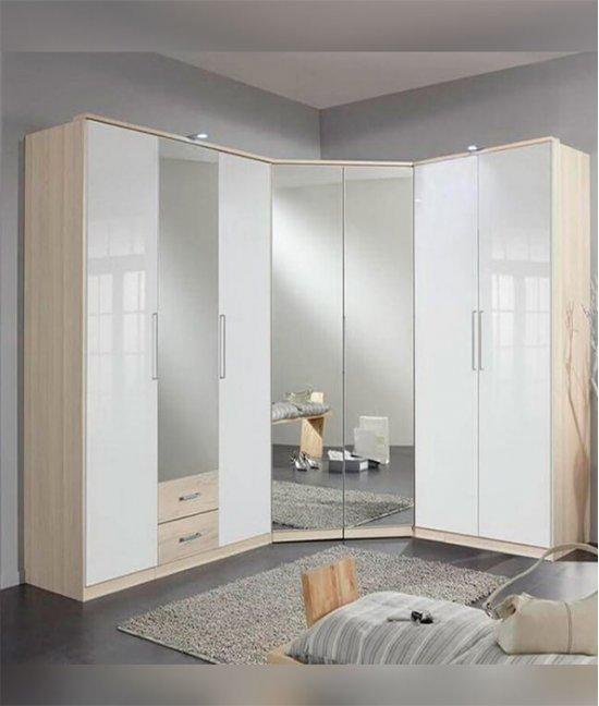 Угловой шкаф купе белый с зеркалом