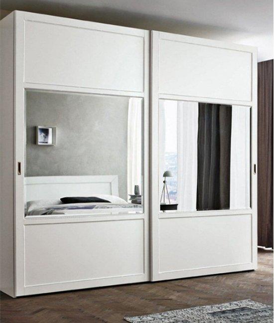 Шкаф купе белый две (2) двери зеркальный