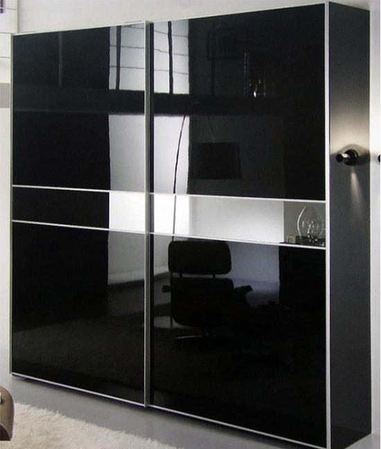 Шкаф купе зеркало и черное стекло
