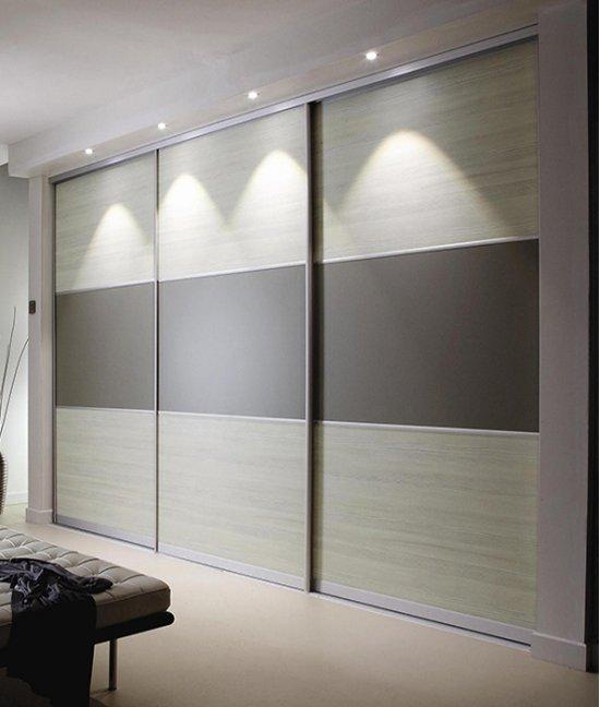 Встроенный шкаф купе серый